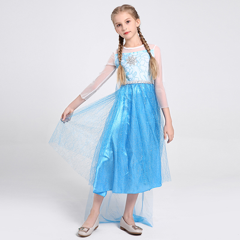 Girls Elsa Princess Birthday Party Fancy Cosplay Fantasy Halloween Carnival Costume