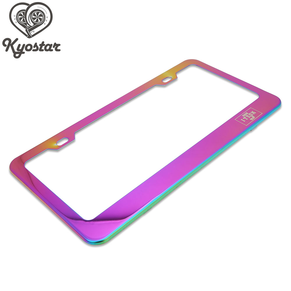 Universal USA License Plate Frame Stainless Steel Neo Chrome Titanium Blue Durable Rust Protection for Vehicles