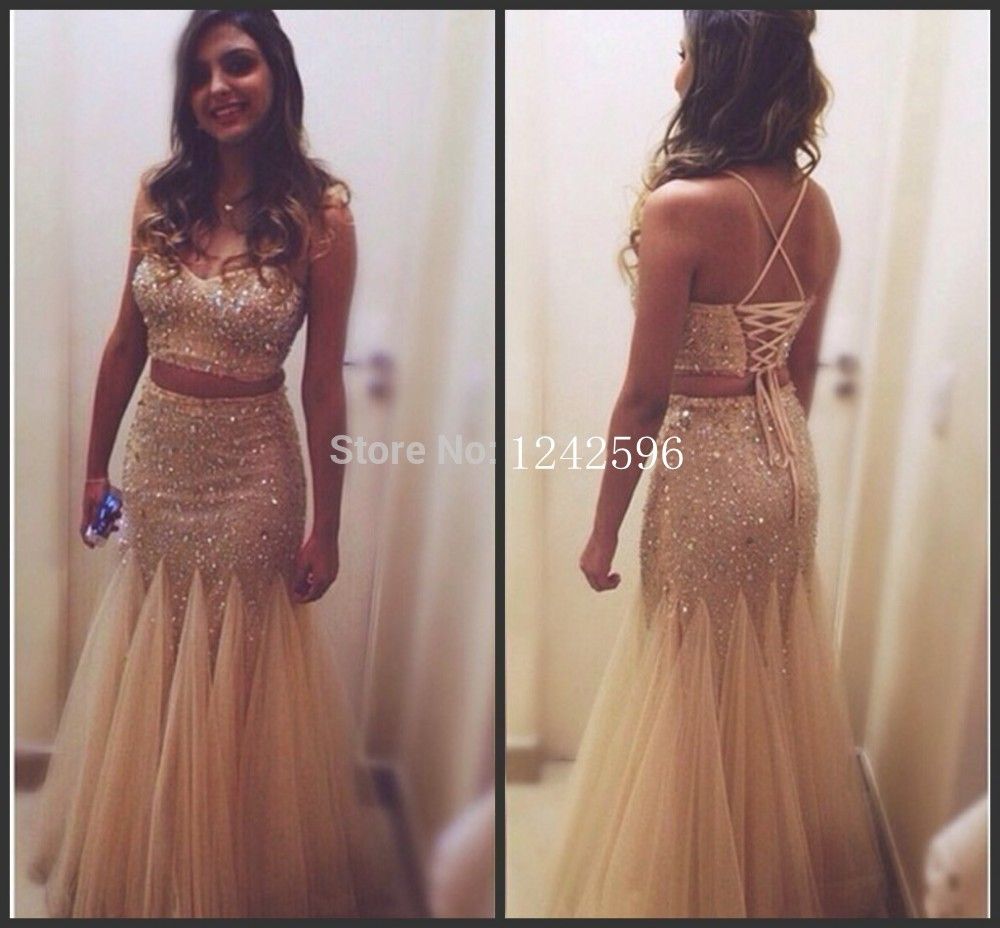 Cheap 2 piece prom dresses backless