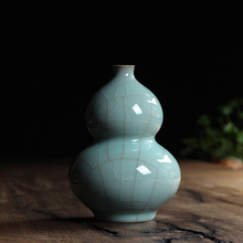 Tea Beauty Traditional Chinese Longquan Celadon Tabletop Vase Decroation Lagenaria Siceraria For Art Collection Gift Package
