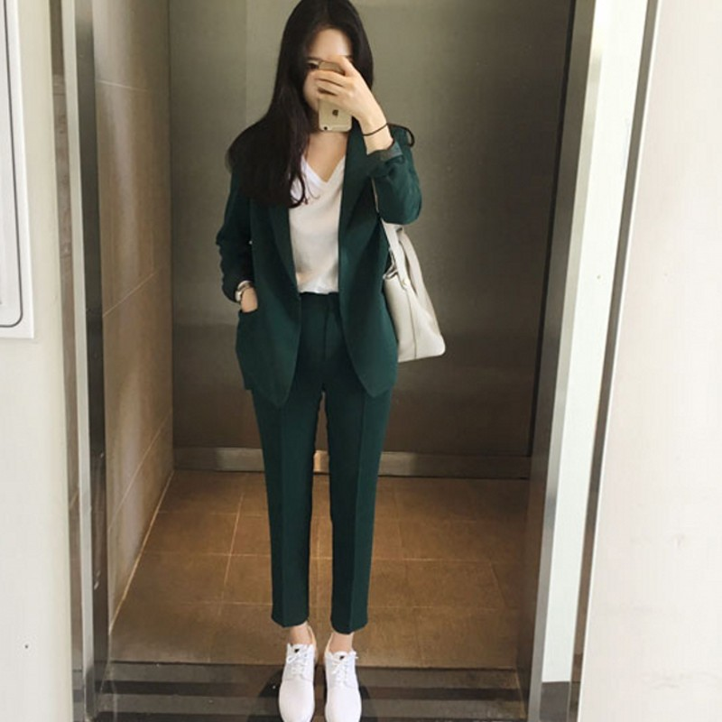 Women's OL Style Fashion Black Suits Sets / Female Business Coats Solid Color Double Button Suits Jackets Blazers +Pants 2018