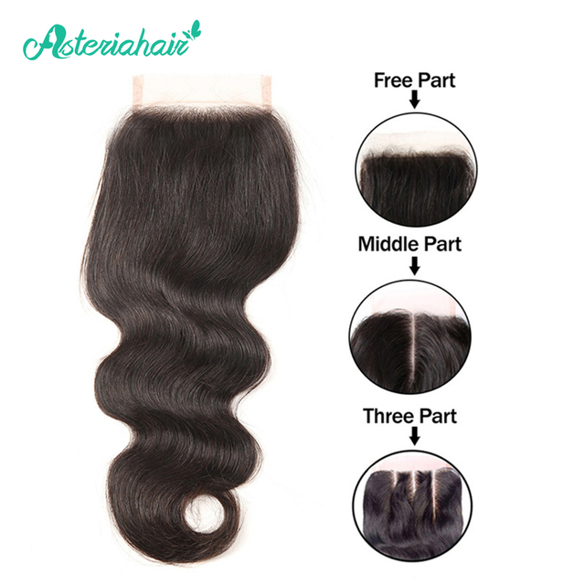 Asteria Hair Brazilian Human Hair Body Wave 4X4 Lace Closure with Baby Hair 8-20 inches Natural Black Non-Remy Hair