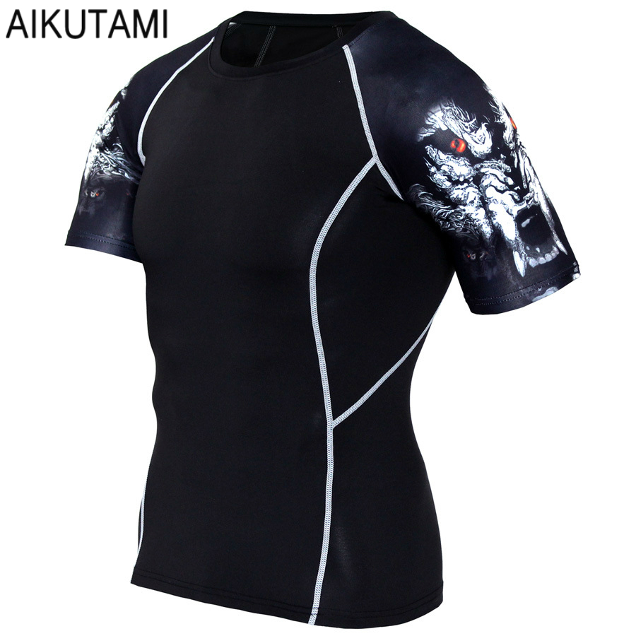 Gym T Shirt Men Sport Mma Boxing Jersey Short Sleeve Printed Muay Thai Compression Shirts Quick Dry Training Workout Fitness Top