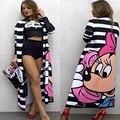 2016 Fashion Striped Print Women Coat Mickey Summer Maxi Trench Kawaii Open Stitch Windbreaker Female Casual Mantea CC8020u