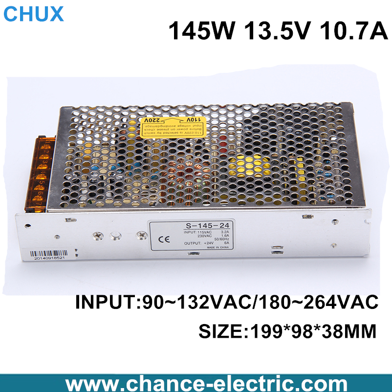 Single Output 13.5V  Switching power supply for LED Strip light AC to DC S-145W-13.5V free shipping 1200w 12v 100a adjustable 220v input single output switching power supply for led strip light ac to dc