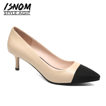 ISNOM High Heels Women Pumps Pointed Toe Shallow Footwear Genuine Leather Shoes Office Fashion Suede Female Shoes 2019 Spring