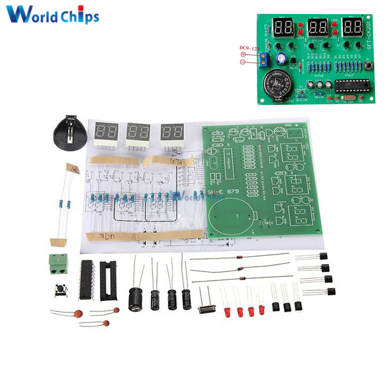 DIY Kit Module 9V-12V AT89C2051 6 Digital Tube LED Electronic Clock Par
