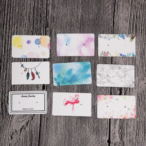 Hot Sale 100pcs/lot 3x5cm Paper Earrings Card Multi Designs Ear Studs Earring Display Packaging Card Rectangle Jewelry Cards