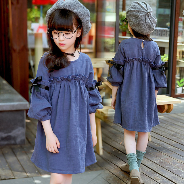 38cdd99f59c5e US $24.13 |2018 Spring & Autumn Girls Casual Korean Ruffles Long Sleeved  Princess Dress Children's Clothes Baby Kids Cuffs One Piece G984-in Dresses  ...