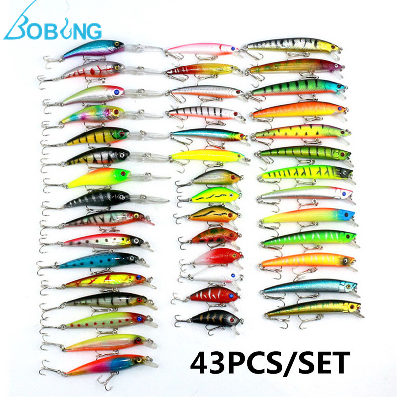 New Arrival 43pcs/lot Mixed Minnow Lure Wobbler Carp Bass Lure Crank Baits Assorted Fishing Lures Fishing Tackle Box Accessories foreign exchange and money markets