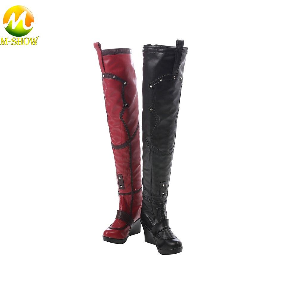 Batman Arkham City Harley Quinn Cosplay bottes jeu noir rouge mode bottes femmes caractère bottes pour Halloween adulte