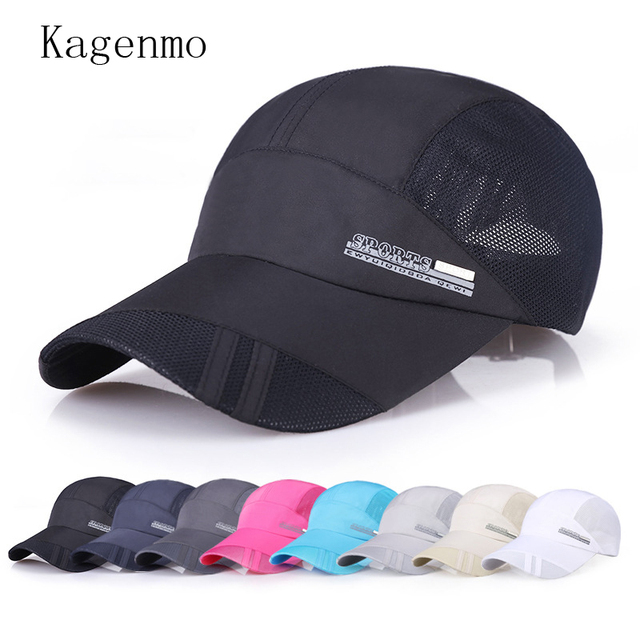 94d18348fe2 Kagenmo Hot Quick Dry Baseball Cap Unisex Thin Cloth Mesh Baseball Caps  Breathable Wicking Hat Absorb Sweat Male Female Visor