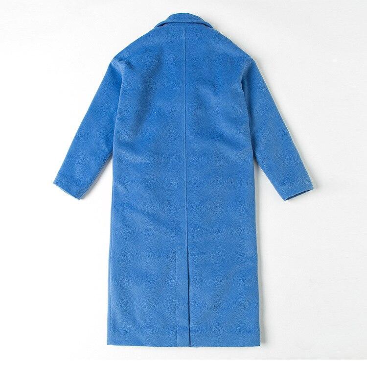 Femelle Manteau Dropship Chaud Épais Mode Et Wj2885 De Veste Breasted Blue Hiver Laine Double Plus Nouvelle Marque Automne wz6Rqaf