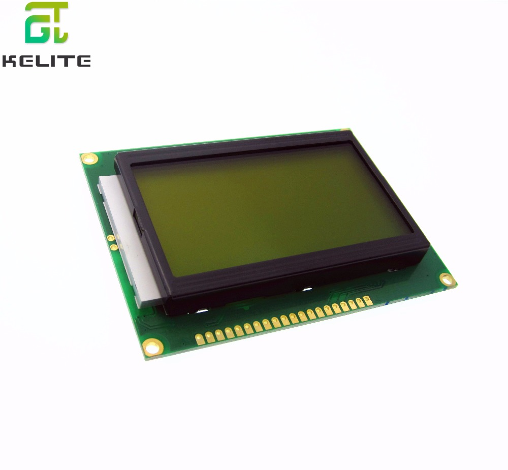 2PCS ST7920 5V 12864 128x64 Dots Graphic LCD Yellow green Backlight