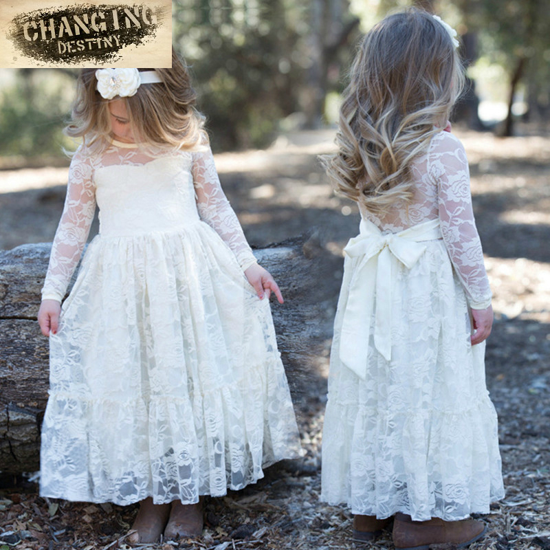 Girl Lace Long Dress with Sweet Flower for Age 2-12 Baby Kids Princess Wedding Prom Party White/Beige Big Bow Long Sleeved Dress  girl lace long dress with sweet flower for age 3 7 baby kids princess wedding prom party white cream big bow long sleeves dress