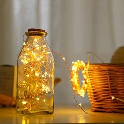 Светодиодные рождественские гирлянды, серебристые гирлянды, сказочные огни 2 м/5 м, водонепроницаемые рождественские огни, украшения для но...