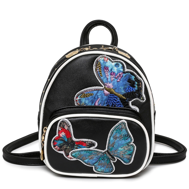 2017 Mini Summer Fashion Women Zipper Pocket Butterfly Embroidery Rivet Backpacks Rucksack Bags Travel Shoulder Bag
