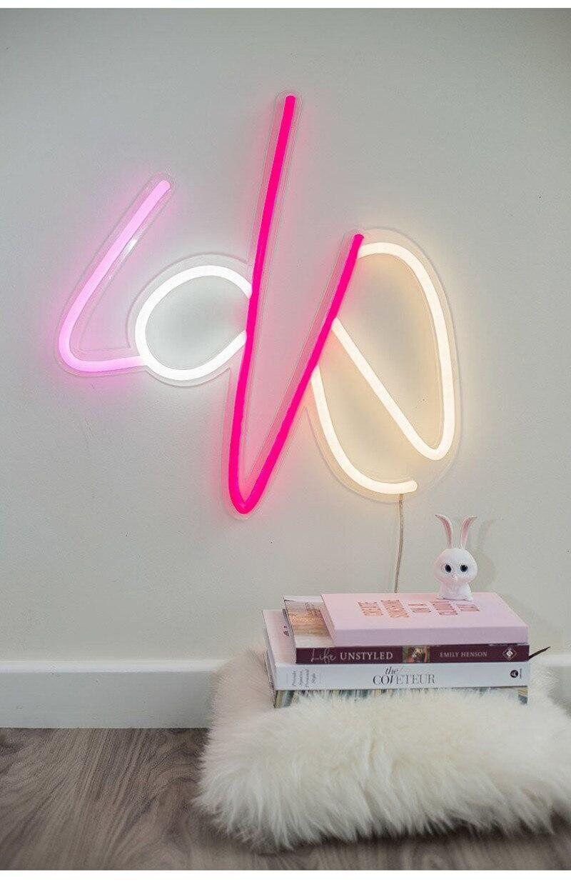 Купить с кэшбэком 10 Kind LED Neon Lights Neon Sign Panel Lights Christmas Xmas Party Colorful Neon Yellow Pink Lamp for Home Room Bar Decoration