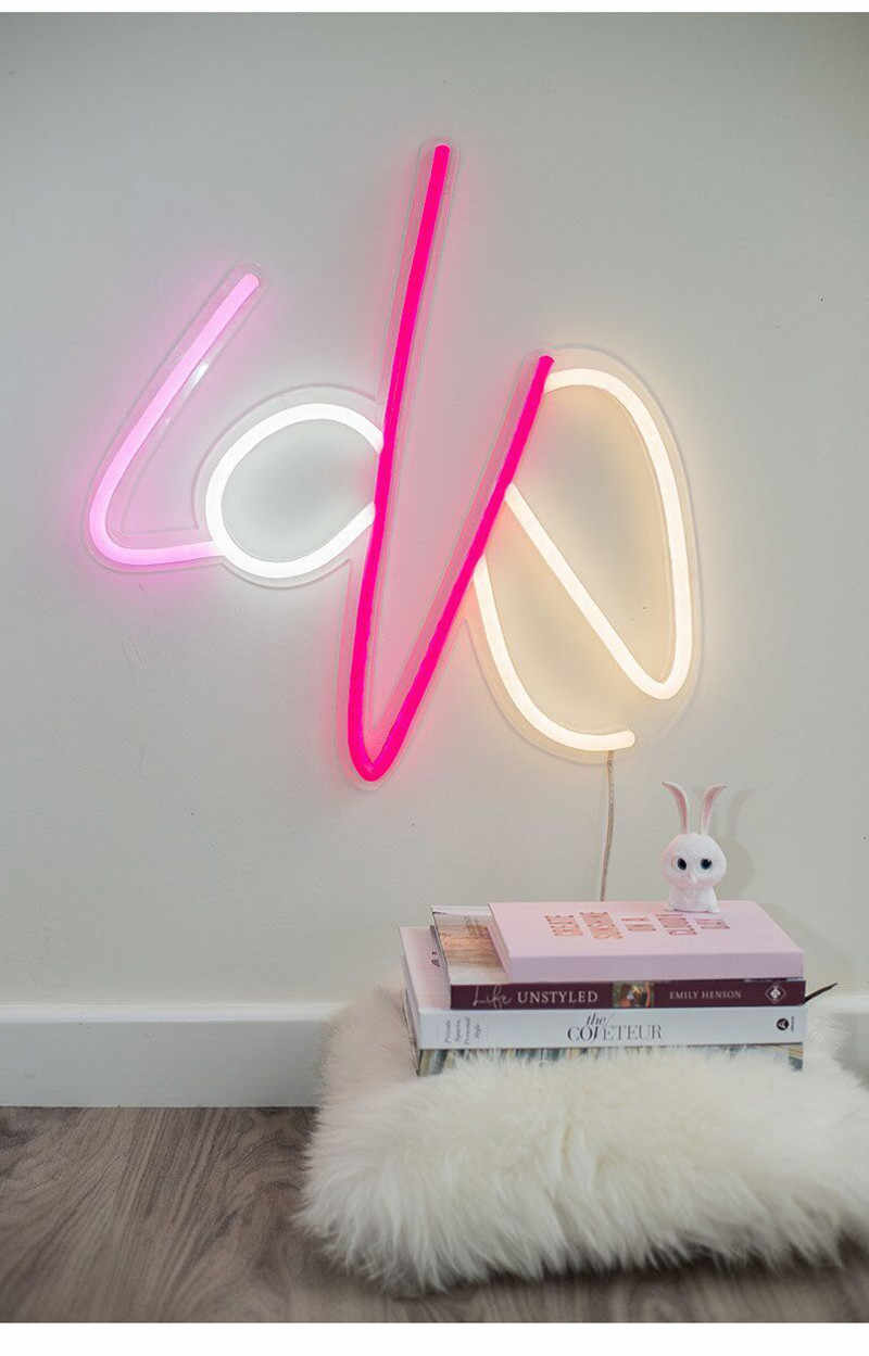 10 luces LED de neón luces de Panel de letrero de neón luces de Navidad fiesta de Navidad colorido neón amarillo Rosa lámpara para el hogar bar de la decoración