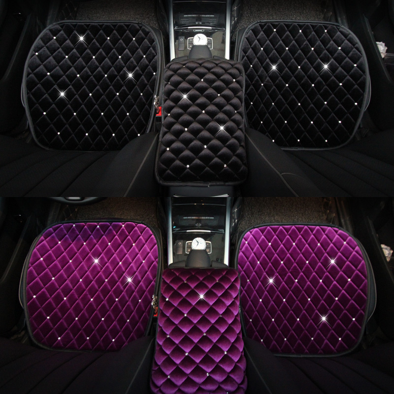 Winter Warm Diamond Plush Universal Car Seat Cover Mat Seat Cushion Velvet Rhinestones Protector Car Accessories Girls Women