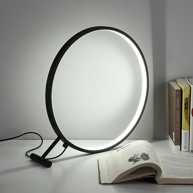 The Office Desk Lamp Magnifier Iron Bed Bedroom Office Study Circular LED  Lighting FG510