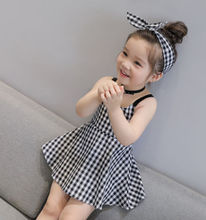 UK Stock Girls Skater Dress Kids White & Black Tartan Print Summer Party Dresses Children Sleeveless Plaid  Dresses