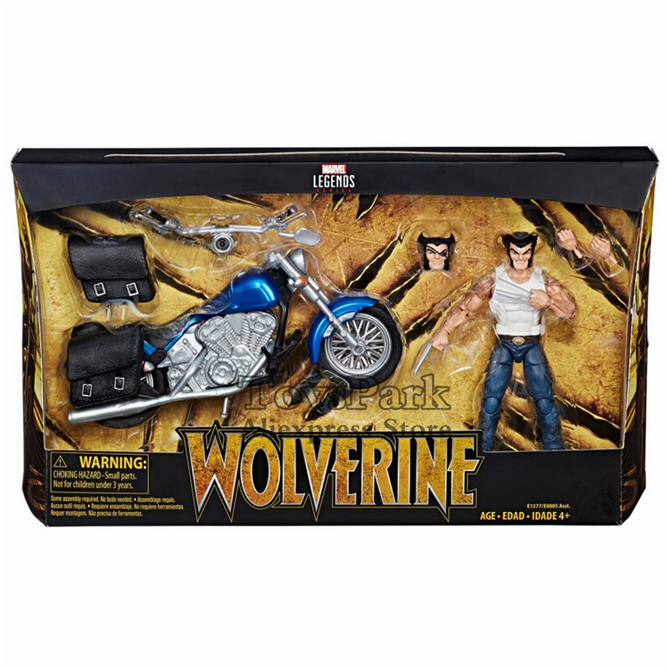 2018 Marvel Legends Series 6 Wolverine With Motorcycle Action Figure Logan Races One eyed Unmasked Head