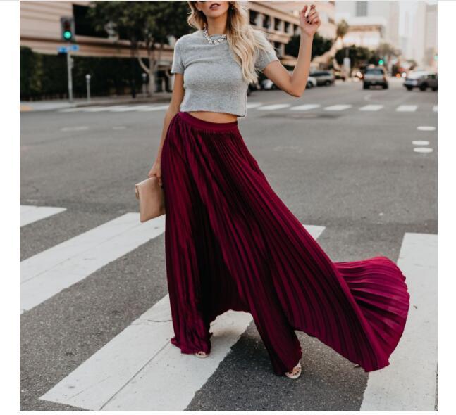 50pcs Fashion Pleated Long Skirt New Lady Loose Soild High Waist Elegant All-match Women Ankle-Length Swing Maxi Skirts