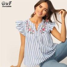 71b2373b851da5 Dotfashion V-cut Neck bluzka kobiety wzburzyć rękawa kwiatowy haftowane  lato Top 2019 modne bluzki dla kobiet niebieski topy w p.