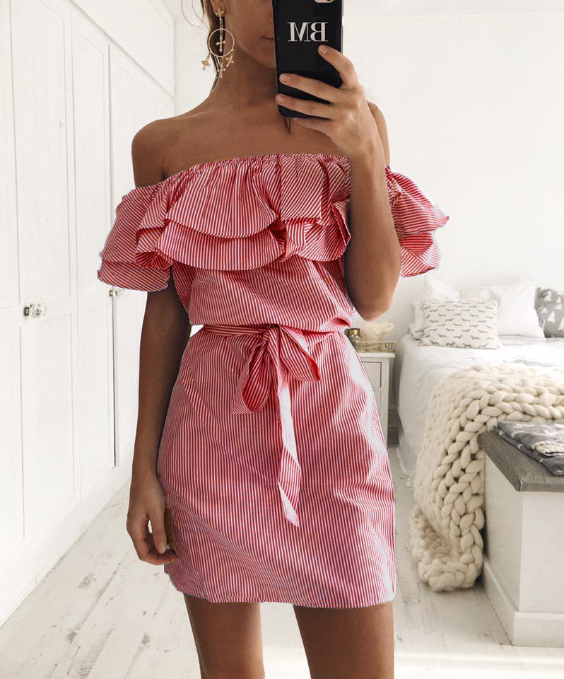 TQNFS Sexy Off Shoulder Striped Ruffles Dress Women Elegant Slash Neck Summer Dress Women Sashes Party Mini Dress Vestidos 4