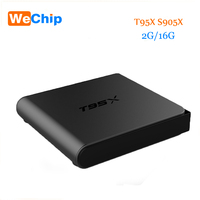 2016 T95X TV Box S905X Quad Core Android 6.0 Wifi 2.4G Kodi 16.1 2G 16G di Memoria Astuto di Android TV Box Media Player Set Top Box T95
