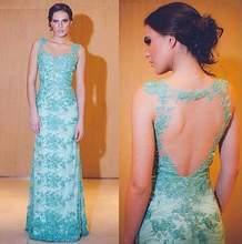 цена на Elegant Backless Bodycon Long Prom Dresses 2015 vestido longo de renda Formal Light Blue Long Evening Gowns
