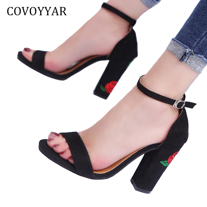 COVOYYAR 2019 Embroidered Women's Sandals Summer Rose Flowers Ladies High Heels Open Toe Buckle Strap Women Shoes WSS876