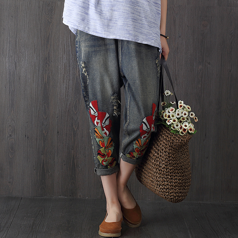 2017 Women Summer Pants Casual Trousers Ladies Blue Ripped Hole High Waist Vintage Embroidery Denim Calf Length Jeans F255 new summer vintage women ripped hole jeans high waist floral embroidery loose fashion ankle length women denim jeans harem pants