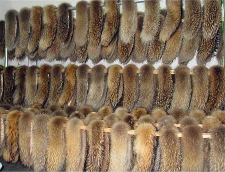 Воротник из натурального меха енота Для женщин шарфы зимнее пальто шеи Кепки длинный теплый шарф из натурального меха большой Размеры