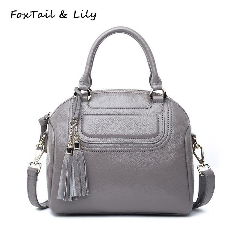 FoxTail & Lily Romantic Tassel Design Women Genuine Leather Handbags Luxury European Brands Ladies Small Shoulder Messenger Bags туфли other european brands 2015