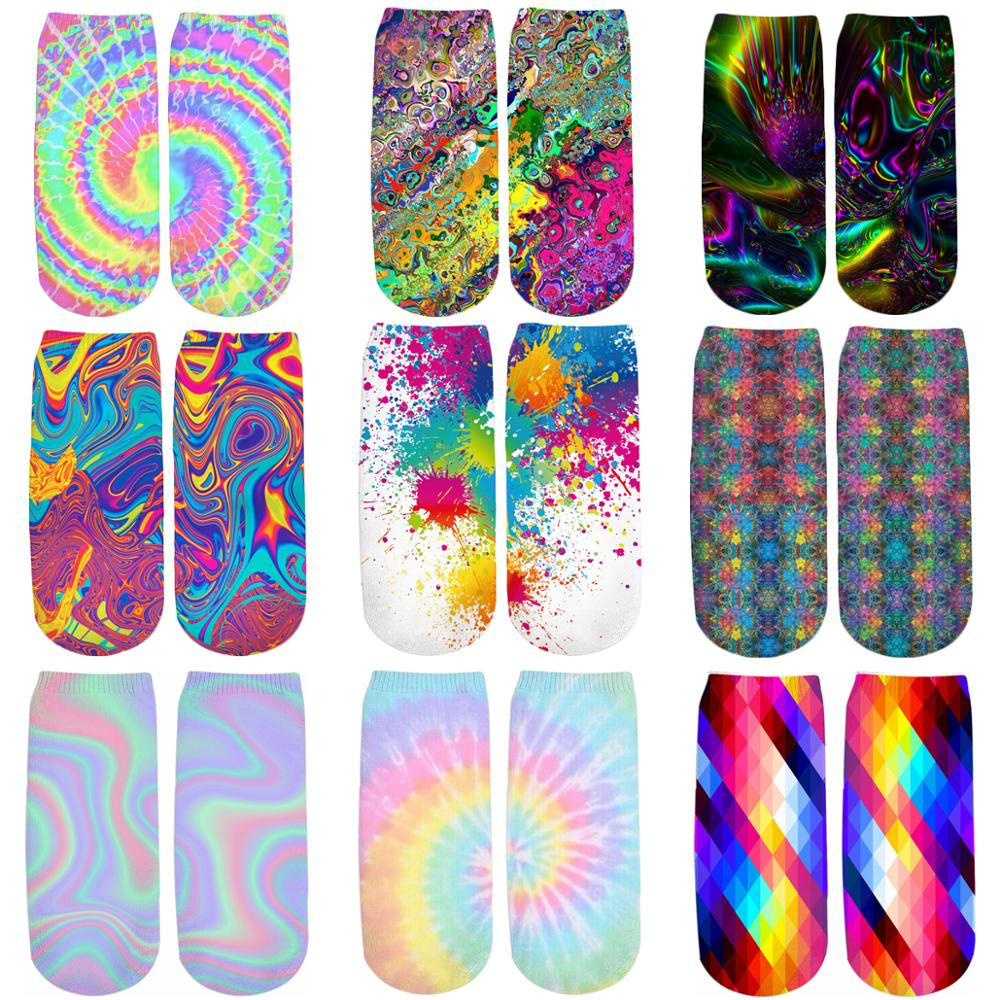 PLstar Cosmos Colorful Psychedelic 3D Printed Tie Dye/Paint Splatter Cotton Short Ankle Socks For Unisex Harajuku Korean Socks