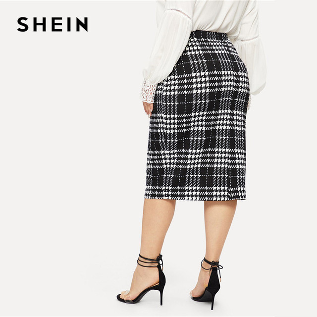 SHEIN Black Solid Women Plus Size Elegant Pencil Skirt Spring Autumn Office Lady Workwear Stretchy Bodycon Knee-Length Skirts 1