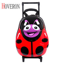 Children travel trolley case with wheel trolley backpack girl cartoon suitcase rolling toy box kids travel bag school luggage(China)