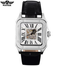 TWINNER fashion casual brand men mechanical watches leather strap men's automatic skeleton square dial silver case reloj hombre
