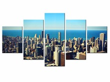 Wholesale 5 pieces / set of City series landscape wall art for decorating home Decorative painting on canvas framde City-95