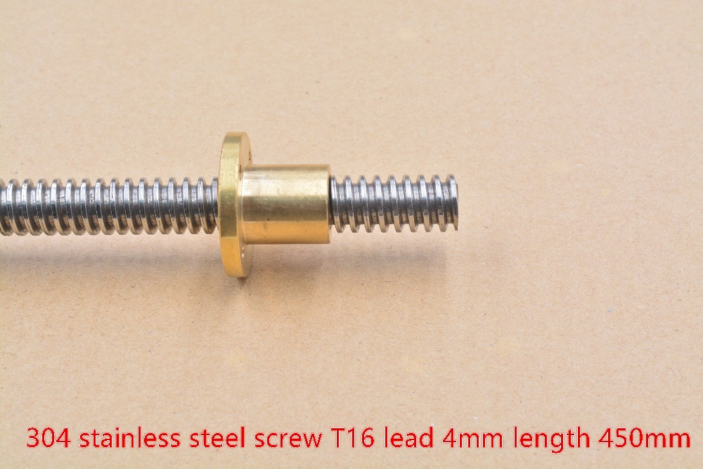 T16 Screw 16mm Length 450mm Pitch 4mm Lead  304 Stainless Steel Trapezoidal  With Brass Copper Nut 1pcs