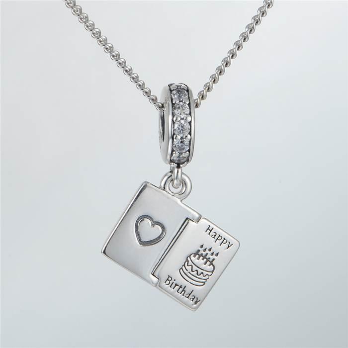 Fits Pandora Charms Bracelet Birthday Card Dangle Charms With CZ