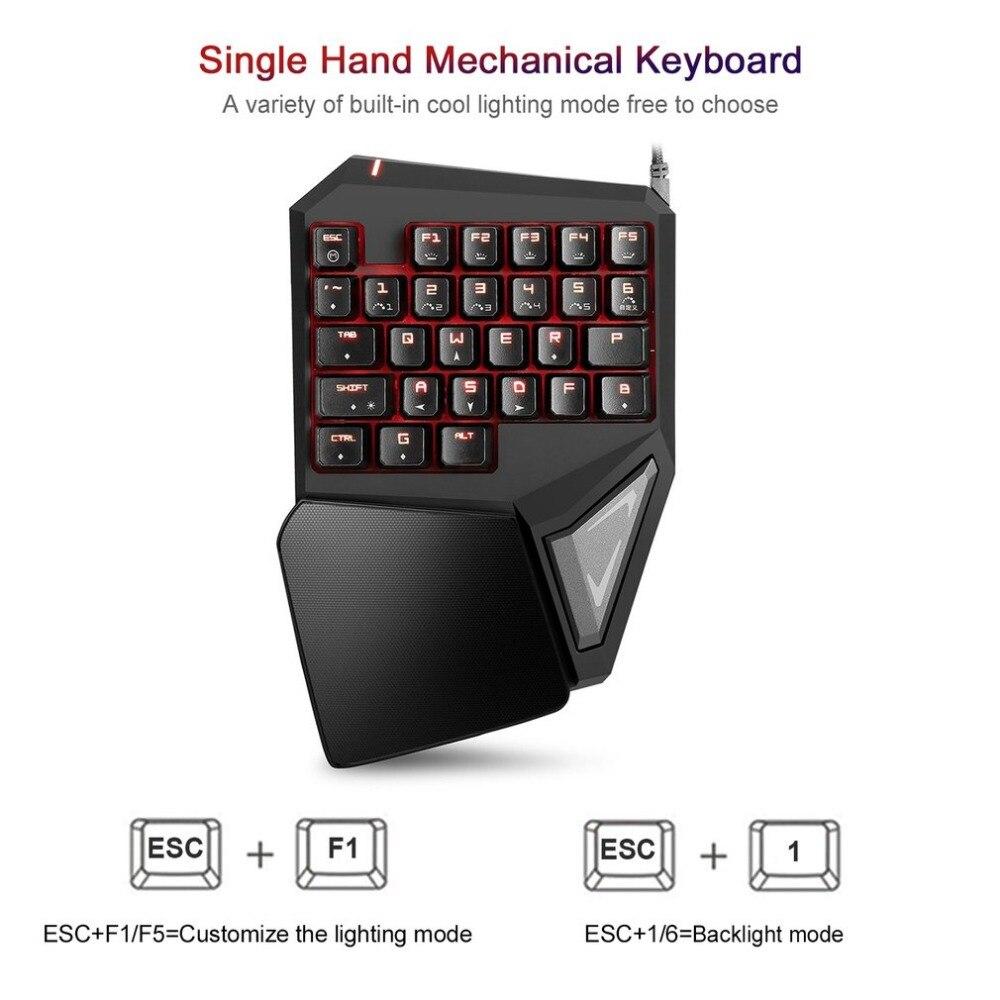 delux t9 plus 29 keys single hand mechanical keyboard usb wired keyboard for esport gaming led. Black Bedroom Furniture Sets. Home Design Ideas