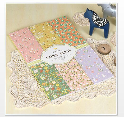 Bricolage cadeau emballage papier livre 24 feuille/ensemble, concis et vogue petit motif floral Scrapbooking papier pack ensemble, origami, artisanat en papier