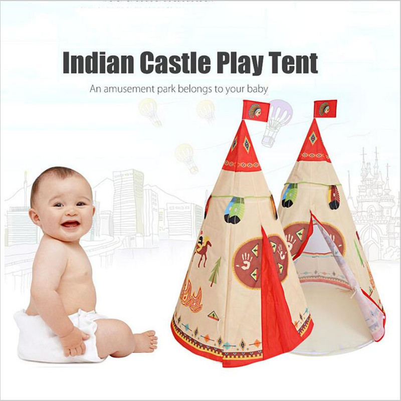 Portable Indian Castle Play Tent Indoor Outdoor Playhouse Toy Activity Fairy House Folding Toy Tents Kids Play Hut Cubby mrpomelo kids toy tent solid color indian white tents with window 100