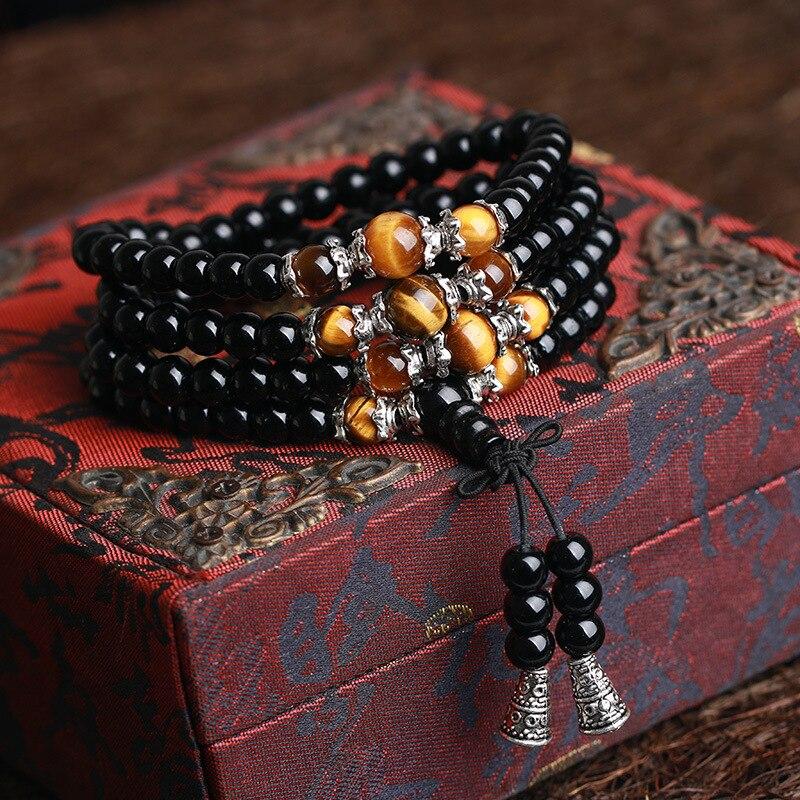High Grade Tiger Eyes beads Bracelet Natural Black Stone Buddhist Buddha Meditation 108 Prayer Bead Mala Bracelet Women Men