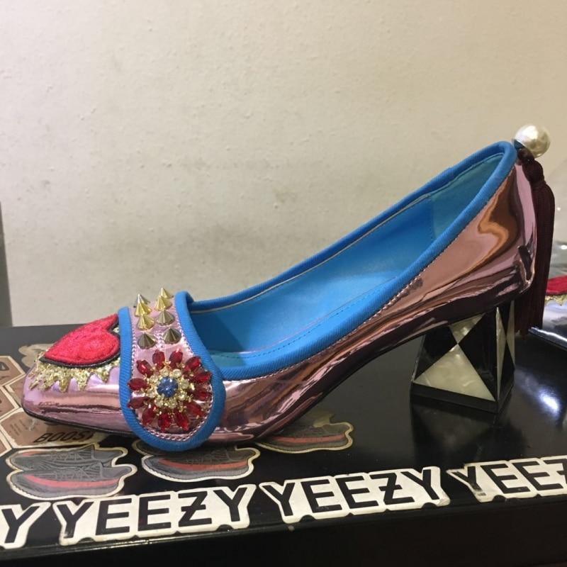 Novia Cristal Sapato Diseñador Italia Heel Bombas Mujeres Cm Superficial Oro Zapatos Heel Tacón Boda Las Remache 6cm Lujo Femenino 10 De Alto 10 Marca Heel awEqa6