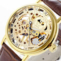 Top SEWOR Men Women Luxury Golden Business Wrist Watches Roman Display Mechanical Sport Watch Leather Band Clock Free Shipping