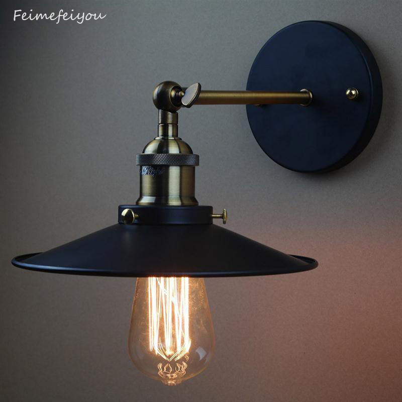 AC110-240V E27 Retro Industrial Vintage Wall Lamps American Country Style Wall Light Restaurant Cafe Bar Study Home Decor Lamp nordic retro wall lamp bedside light wrought iron lamps shade american country style restaurant bar industrial light
